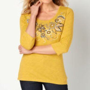 Christopher & Banks Knit Top with Blue Embroidery